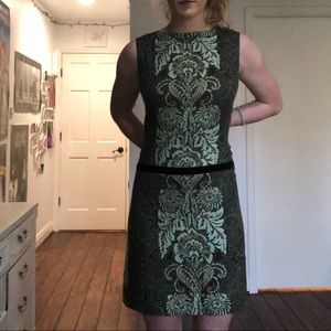 Blue, green, and brown cocktail dress